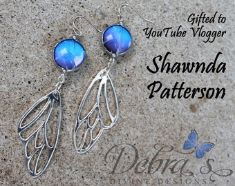 As Gifted to Shawnda Patterson, YouTube Vlogger, Blue Butterfly Earrings, Silver Wing Earring
