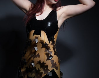 Latex Dress, Latex Flying Bats Dress