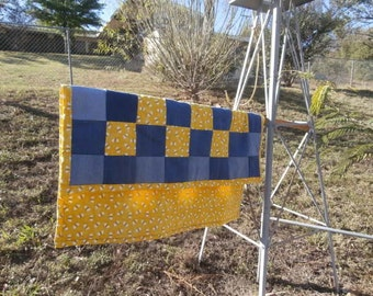 Cotton Bumble Bee Print and Repurposed Denim Baby Quilt or Lap Quilt