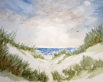 Watercolor Beach Painting archival print, Landscape Painting, beach grass, seascape painting, beach shore, sand dunes, summer painting.