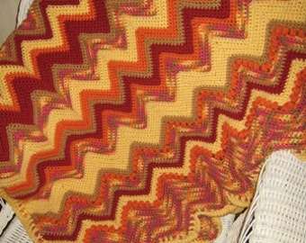 Orange and Yellow Variegated Ripple Stitch Afghan