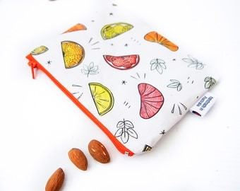 Zippered Snack Bag with Food-Safe Nylon Lining - Juicy Citrus