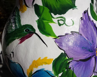 Hand painted personalized Hibiscus and  hummingbird  design gourd birdhouse, gourd birdfeeder, personalized birdhouse, hibiscus bird house
