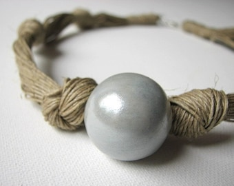 Ceramic Grey - linen necklace