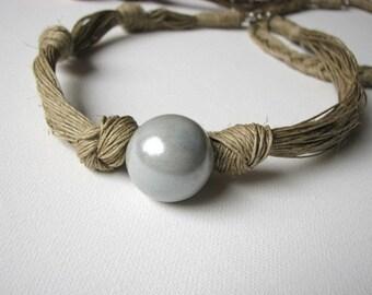 Ceramic Grey - linen necklace