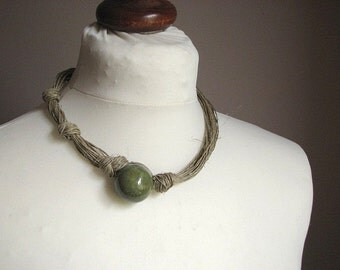 Ceramic Olive - linen necklace
