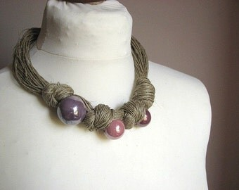 Three Lavender beads - linen necklace