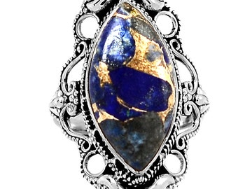 Afghani Lapis Lazuli Ring. Natural Copper Inclusions. Size 8