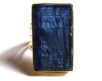 COA:NM Beautiful Blue KYANITE 24 Kt Gold On Sterling Ring.