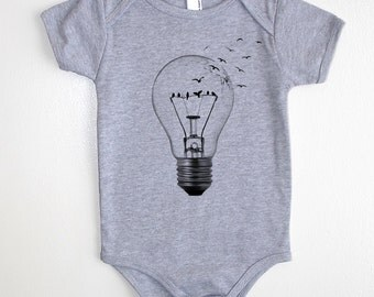 Birds and Broken Light Bulb Baby Onesie - American Apparel Baby Outfit - Available in 3-6MO, 6-12MO, 12-18MO