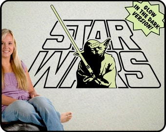 "STAR WARS yoda wall decal with Glow in the Dark Yoda  (star wars art)  40"" x 23"""