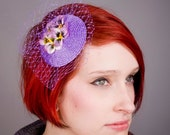 Lilac Fascinator- Lilac-Yellow Flower (Pansy)