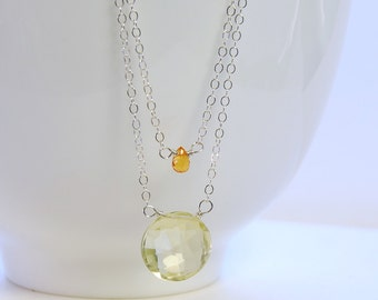 Lemon Quartz, Gold Sapphire Dainty Necklace by Agusha. Multi Strand Sterling Silver Necklace. Gemstone Layered Necklace