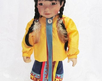 Vintage Native Porcelain Doll by Carol Theraoux | Golden Flower | Georgetown Collection