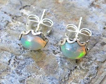 Natural Ethiopian Opal in Sterling Silver Filigree Post Earrings, Fiery Oval Opal Stud Earrings E148