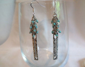 Turquoise Cluster and Arrow Earrings on Silver Ear Wires, Earrings, Turquoise, Arrow, Cluster
