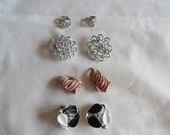 Various Vintage Clip On Earrings, Earrings, Vintage, Clip On