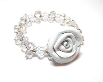 Leather Roses  Flower Bracelet  - 3rd anniversary gift-beaded bracelet