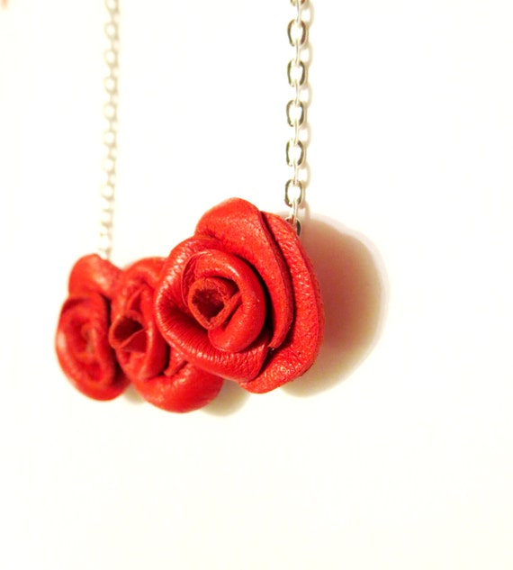 3rd anniversary gift- Red rose necklace-Leather rose necklace - Leather Flower Necklace -Leather Pendant