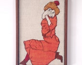 Made to order - Recycled  textile Embroidery of Egon Schiele austrian artist./ Walnut Wood Frame
