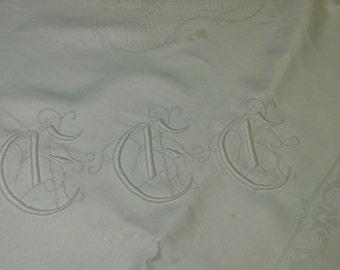 "Beautiful Vintage Tablecloth, Linen Damask, Lg. Triple Monogram, 52 x 54"""
