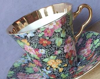 Vintage Adderley teacup and saucer, Chintz tea cup, Black tea cup, English tea cup, Mid Century tea cup, Bone china teacup, black china tea