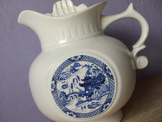 Vintage Mccoy Pottery Cookie Jar Blue Willow 202 By