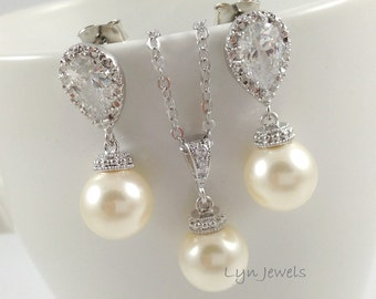 Wedding Pearl Set - Swarovski Pearl Necklace and Earrings Set - Cubic Zirconia Bridesmaids Jewelry Set - Cream, White, Lavender, Light Grey