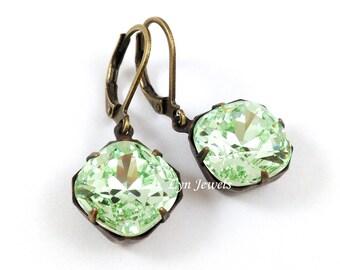 Mint Green Earrings - Swarovski Crystal Cushion Cut Chrysolite Earrings Antique Bronze Square Light Green Estate Style Earrings