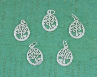 Sterling Silver - Tree of Life - With Heart - 12x16mm - Sold Per Piece