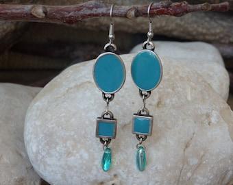 Turquoise enamel earrings. Teardrop Earrings. Dangle Earrings. Modern Jewelry. Bridesmaids Jewelry. Silver and turquoise earrings. For wife.