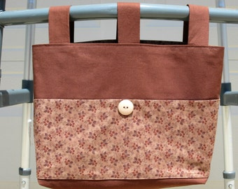 Adult Walker Bag, Walker Tote, Walker Caddy – Cocoa Brown Bag & Straps, Brown with Berries Pockets and Lining. Pastel Beige Button