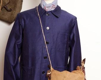 French Blue Moleskin Work Jacket 50's