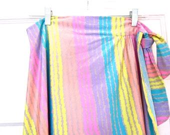 Vintage De Weese Designs  wraparound skirt, mod beachware, bathing suit cover, striped skirt