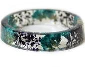 Bracelet -Real Flowers  - Real Flower Jewelry- Flower Jewelry -Teal Flower Jewelry-  Jewelry made with Real Flowers