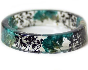 Bracelet -Real Flowers  - Real Flower Jewelry- Flower Jewelry -Teal Flower Jewelry-  Jewelry made with Real Flowers