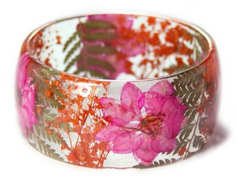 Tropical Bracelet -Jewelry with Real Flowers- Dried Flowers- Pink Bracelet-Dried Flowers- Orange Bracelet-Resin Jewelry
