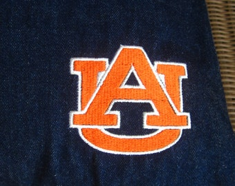 "AUBURN Navy Blue Denim 16X16 Pillow with Orange ""AU"" Outline in White Embroidered in Corner-Envelope Back Closure"