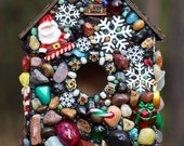 Mosaic Gingerbread House full of Christmas, snowflakes and Snowmen holiday decor birdhouse