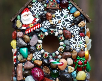 Winter Birdhouse Mosaic birdhouse Gingerbread House full of Christmas, snowflakes and Snowmen holiday decor birdhouse