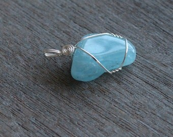 Aquamarine Sterling Silver Pendant #4329