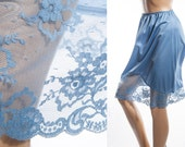 Beautiful 'Gossard' vintage slip - shimmering silky soft airforce blue nylon and delicate deep lace hem detail 1960's waist slip - 3538
