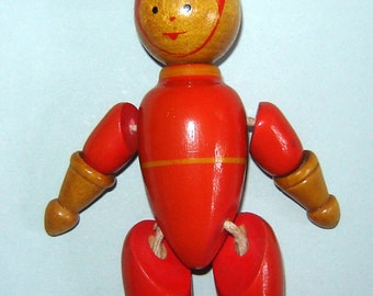 Old Vintage 1960s Russian USSR Soviet Union Wooden doll toy Astronaut Cosmonaut