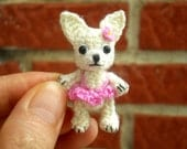 Mini Chihuahua Girl - Crochet Miniature Dog Stuffed Animals - Made To Order