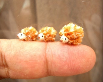 Micro Hedgehog Family - Crochet Miniature Tiny Stuffed Animals - Made To Order