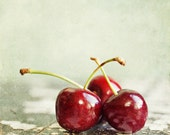 Fruit Print, Kitchen Decor, Cherry Print or Canvas Wrap, Cherries Photograph, Kitchen Wall Art, Red Mint, Country Rustic Kitchen Picture.