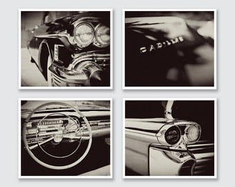 Christmas Gifts for Men, Christmas Gift for Dad, Vintage Car Gift for Grandfather, Old Cadillac Wall Art Print Set, Black and White Car Art.
