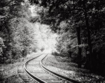 Black and White Landscape Print or Canvas Art, Train Tracks, Train Photography, Moody Elegant Dramatic, Silver, Grey, Black and White.