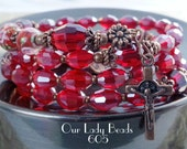 Rosary Bracelet Wrap,Dark Red Crystal Rosary,Religious Gift,Catholic Jewelry,Confirmation,First Communion,Gift for Her,by Our Lady Beads,605