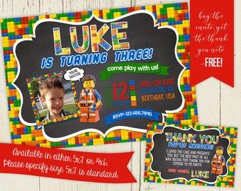 Chalkboard Lego Inspired Birthday Invitation